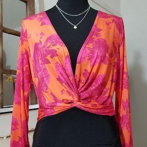 Bright Orange/Pink Low cut drape twist bodysuit
